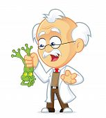 Vector Picture of a Professor Cartoon Character Holding Frog poster