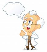 Vector Picture of a Professor Cartoon Character Thinking with White Bubble poster