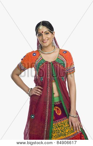 Beautiful woman smiling in lehenga choli