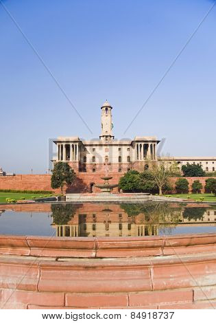 Reflection of a government building in water, Rashtrapati Bhavan, New Delhi, India