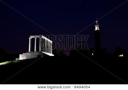 National Monument In Night, Edinburgh, Scotland