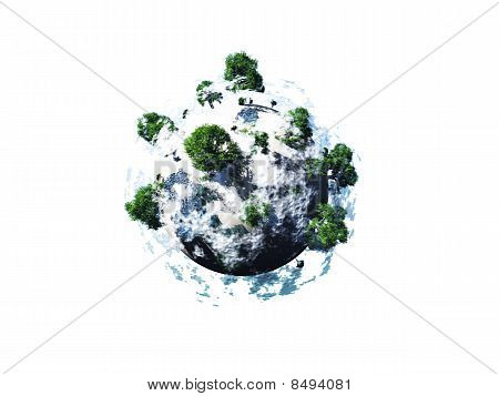 Small Rock With Trees