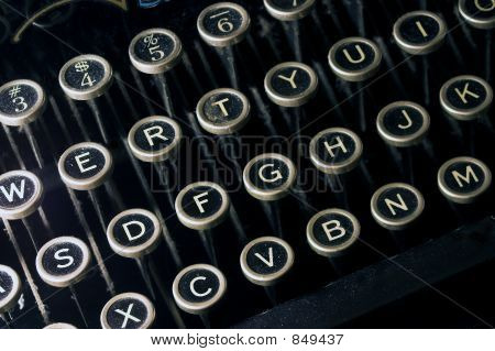 Old Dusty Black Typewriter Keyboard
