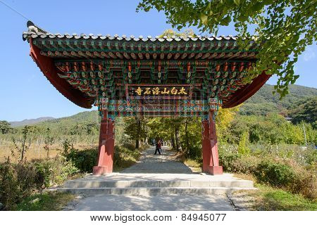 Yeongju, Korea - October 15, 2014: One Pillar Gate Of Buseoksa