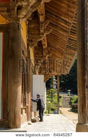 Yeongju, Korea - October 15, 2014: Old Man In Front Of Muryangsujeon.