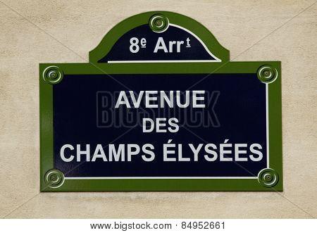 Close-up of a street name sign, Avenue des Champs-Elysees, Paris, France