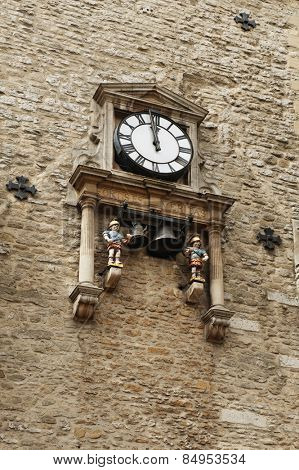 Low angle view of a clock tower, Carfax Tower, Oxford, Oxfordshire, England