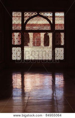 Detail of latticework window, Tomb Of Sheikh Salim Chisti, Fatehpur Sikri, Agra, Uttar Pradesh, India