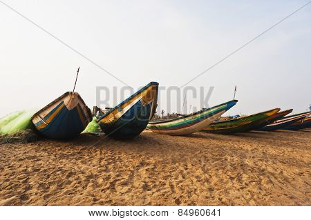 Traditional fishing boats on the beach, Puri, Orissa, India