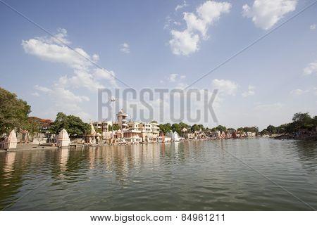 Temples at Shipra Ghat, Shipra River, Ujjain, Madhya Pradesh, India