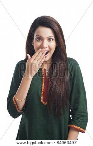 Portrait of a woman surprised