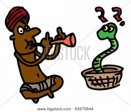 Illustrative representation of a snake charmer
