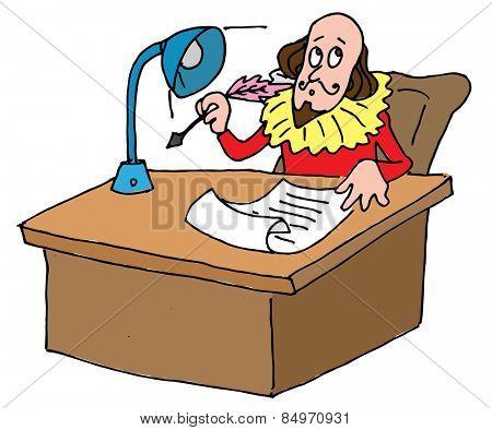 Illustrative representation of Shakespeare's desk
