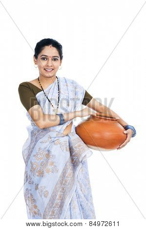 Portrait of a woman carrying a clay pot poster