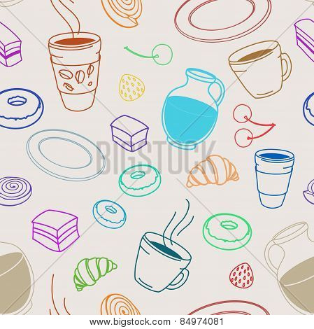 Seamless Set Of Sketches Pies And Desserts, Symbolizing A Coffee Shop