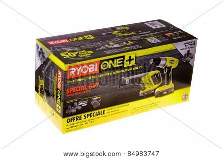 Hayward, CA - February 22, 2015: Ryobi ONE 18 volt tool kit with drill, saw, batteries and charger - Illustrative editorial