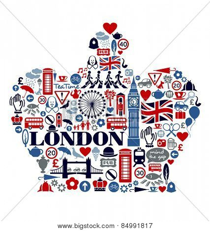 London Great Britain United Kingdom culture icons landmarks attractions poster