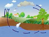 Illustration showing water cycle poster