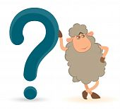 cartoon sheep pushes a question-mark on a white background poster