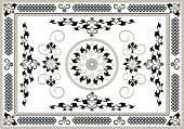 Decorative oriental  ornamental  frame on a white background. Graphic arts. poster
