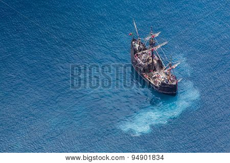 Funchal, Portugal - June 26: Tourists Making A Cruise With A Replica Of Vessel
