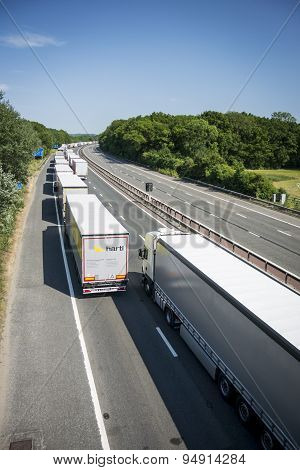 Lorries Parked On The M20 In Operation Stack