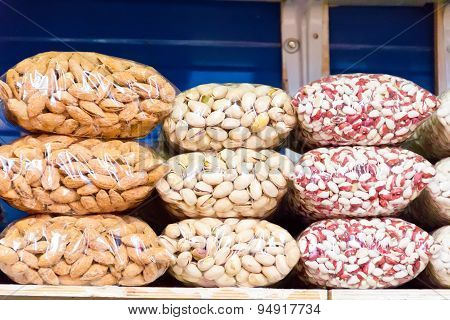 Counter In Market Place With Bean And Nuts
