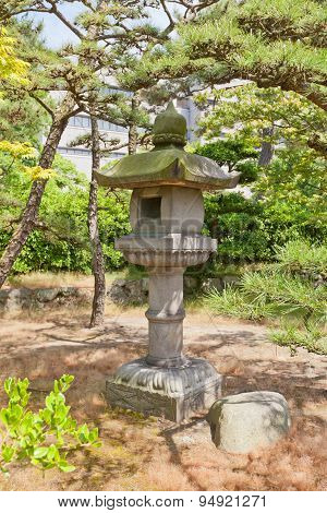 Traditional Stone Lantern (toro) In Takamatsu Castle, Japan