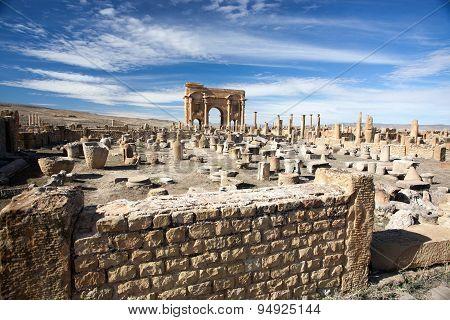 Roman Ruins Of Timgad In Algeria