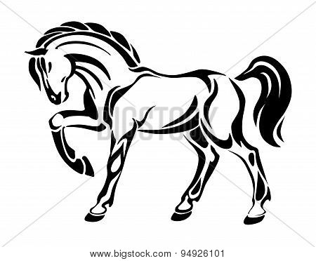 Horse tattoo - stylized graphic vector drawing