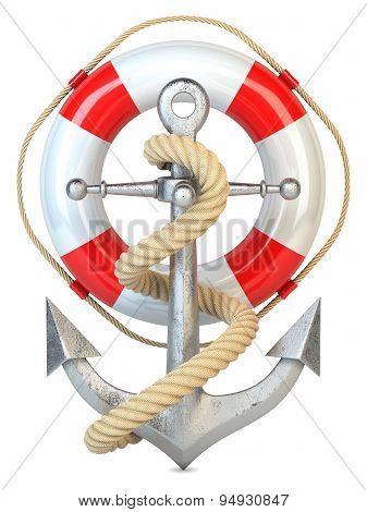 Anchor, Lifebuoy And Rope