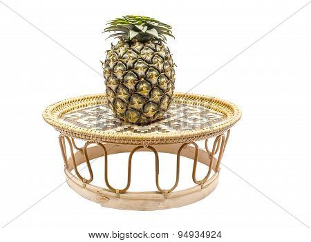 Pineapple On Bamboo Tray Isolated On White Back Ground