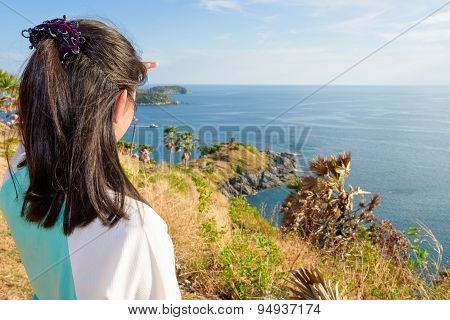 Woman Looking Island And Sea View