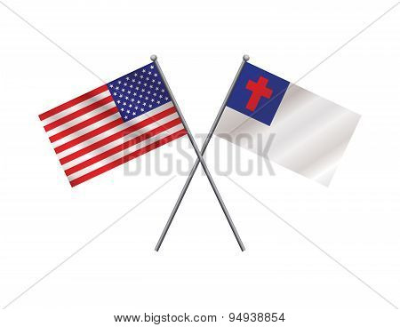 American And Christian Flags Illustration