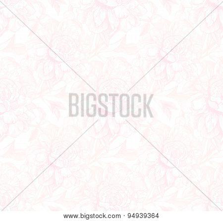 Vintage style vector peony light pink seamless pattern