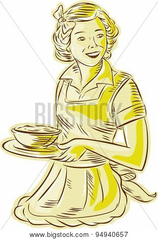 Homemaker Serving Bowl Of Food Vintage Etching