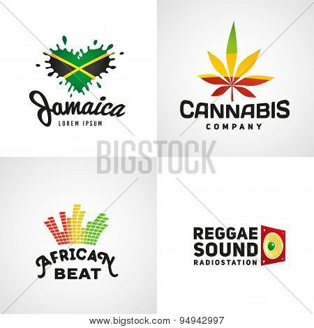 Set of african rasta beat vector logo designs. Jamaica reggae music template. Colorful cannabis comp
