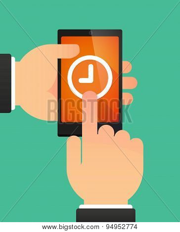 Man's Hands Using A Phone Showing A Clock