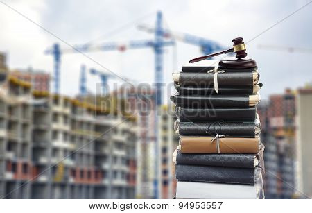 Files With Gavel, Buildings And Cranes