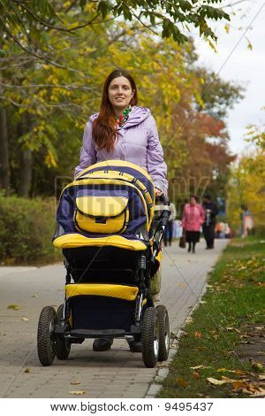 Mother With Pram Outdoor