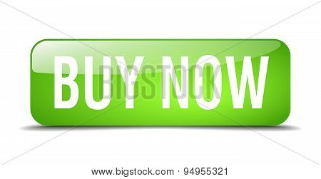 Buy Now Green Square 3D Realistic Isolated Web Button