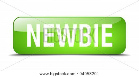 Newbie Green Square 3D Realistic Isolated Web Button
