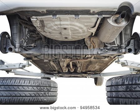 Car Chassis With Engine Underbody Isolated