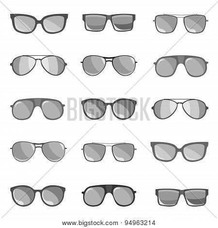 The Set Of Sunglasses Is Depicted On A White Background.