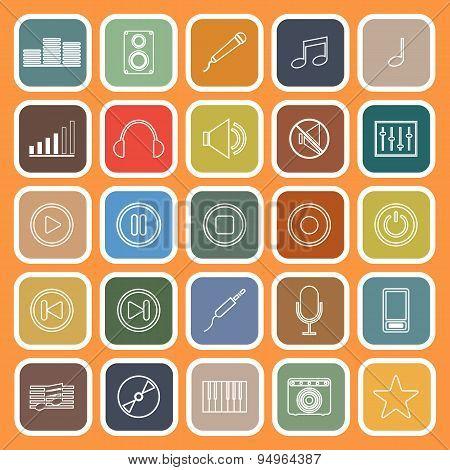 Music Line Flat Icons On Orange Background