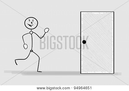 Running Man And Door