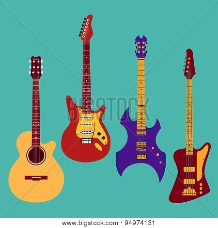 Set Of Different Guitars