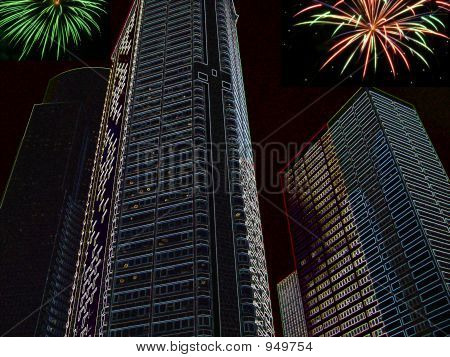 Skyscrapers And Fireworks