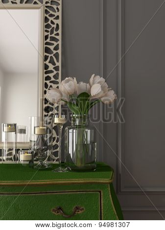 Interior With A Green Chest Of Drawers