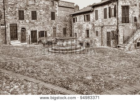 Old Italian Town Castiglione D' Orcia, Tuscany, Italy